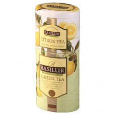 Чай Basilur Базилур 2в1 Зеленый и Цитрус 125г жесть банка