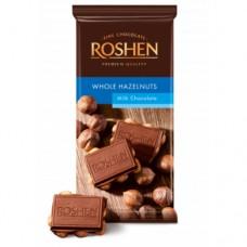 Шоколад Рошен молочный с целым лесным орехом 90г