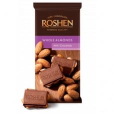 Шоколад Рошен молочный с целым миндалем 90г