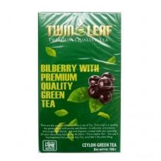 Чай Twin Leaf зеленый черника 100г